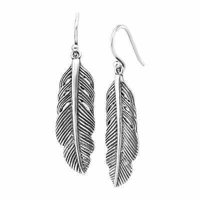 Silpada 'Etched Feather' Drop Earrings in Sterling Silver