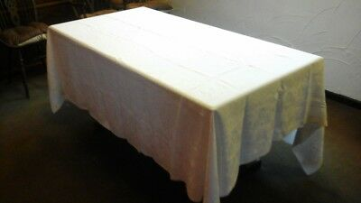 Antique Heavy Linen White Damask Table Cloth  (extra large)