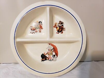 VTG Ceramic Children's Plate Divided Dish Train Cowboy