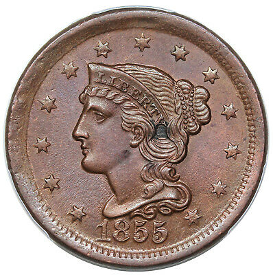 1855 Braided Hair Large Cent, Upright 55, N-8, PCGS UNC detail