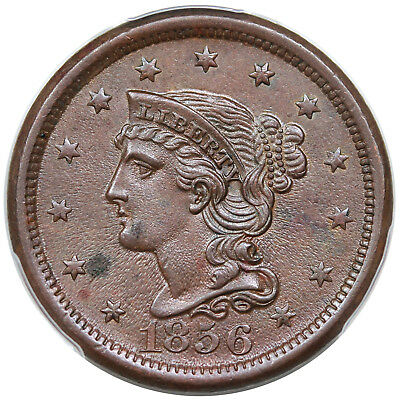1856 Braided Hair Large Cent, Upright 5, N-11, PCGS UNC detail
