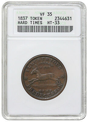 1837 Hard Times Token, Low 19, HT-33, ANACS (OH) VF35