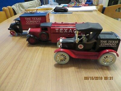 ERTL Texaco Truck-Banks- Lot of 3. Pre-owned Pristine Condition