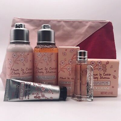NEW L'Occitane Essential Beauty Collection Cherry Blossom CosmeticPouch FreePost