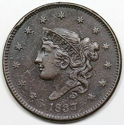 1837 Coronet Head Large Cent, Medium Letters, XF detail
