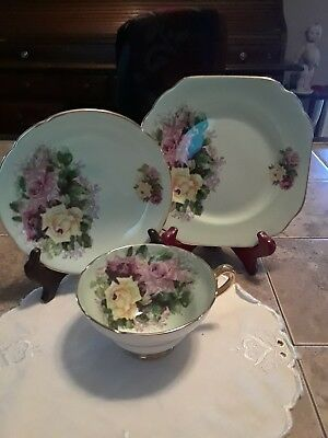 Vintage Stanley Soft Green Tea Cup & Saucer Set  Huge Pink & Yellow & RED  Roses