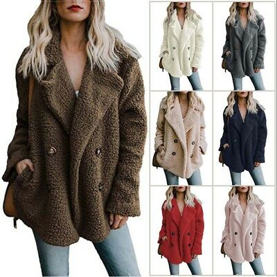 Women's Warm Soft Fleece Fur Jacket Winter Outwear Thicken Coat Shaggy Cardigan