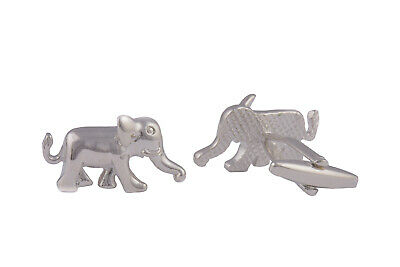 Mens Silver Plated Cufflinks Elephant Animal Shirt Gift Novelty Wedding Pair UK