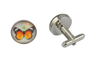 Mens Silver Plated Cufflinks Butterfly Orange Shirt Gift Novelty Wedding Pair UK