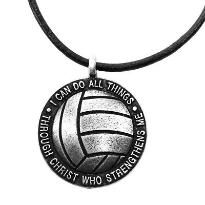 Phil 4:13 Volleyball Necklace Antique SIlver  (SP6RUB)