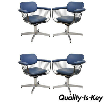 Mid Century Modern Warren Platner Style Chrome & Blue Vinyl Chairs