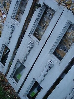 4 carved panels black forest style flaming torch shutters mirror grey paint
