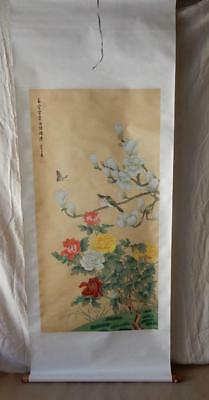 Antique Vinage Asian Scroll Chinese-Hand Painted Signed-Birds-Butterfly-69x27 in