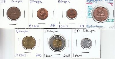 Ethiopia: Lot of 7 Different Circulation Coins