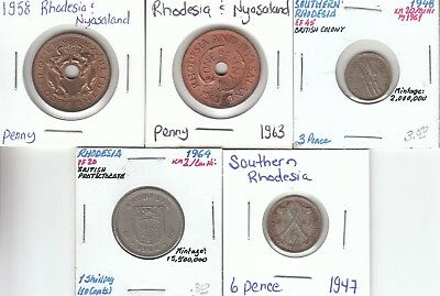 Rhodesia: Lot of 5 Different Circulation Coins