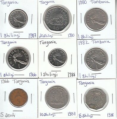 Tanzania: Lot of 9 Different Circulation Coins