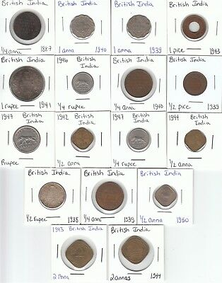 British India: Lot of 17 Different Circulation Coins
