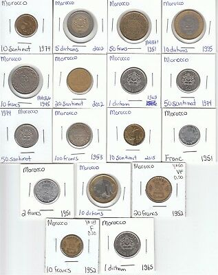 Morocco: Lot of 17 Different Circulation Coins