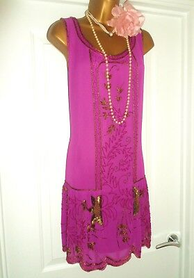 New Look  1920s Style Gatsby Flapper Charleston Sequin Beaded Dress Size 16