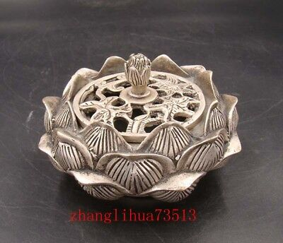 Collectible Handmade Carving Statue Copper Silver Incense Burner QianLong Mark