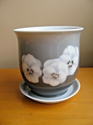 "Bing & Grondahl: Gray Pansy Small Cache Pot Planter w/ liner 3 1/2"" Denmark"