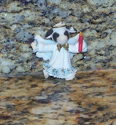 Enesco Mary's Moo Moos Cow Angel Christmas Tree Ornament Wings Halo Candle RARE!