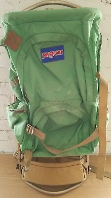Vintage Jansport External Frame Camping Hiking Backpack with Straps Green Tan