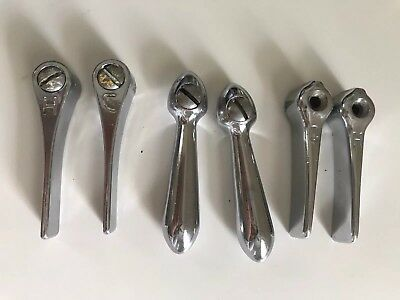 Lot of 6 Vintage Water Faucet Knobs Handles Hot Cold Silver Metal Chrome Sink