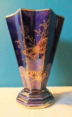 Unusual Shaped Art Deco Vintage Crown Devon fieldings Lustre Butterfly's Vase