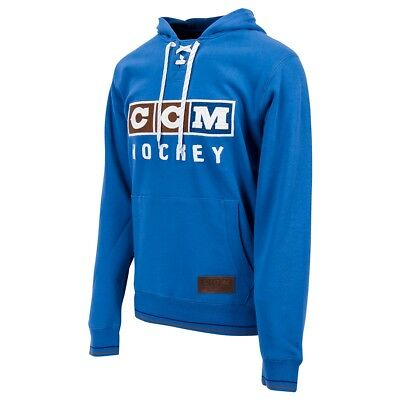 CCM Hockey CLASSIC LACE NECK Adult  Senior Hoody Sweatshirt-- Blue ... 72a228397