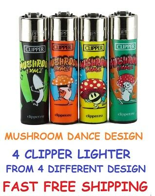 4 Full Size CLIPPER Refillable Lighters HAPPY MUSHROOM DANCE COLLECTION LIGHTER