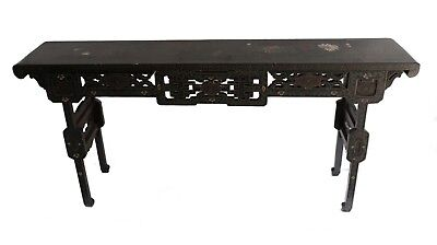 Chinese Lacquer long (altar?) Table, hand painted with gilt, rectangular form