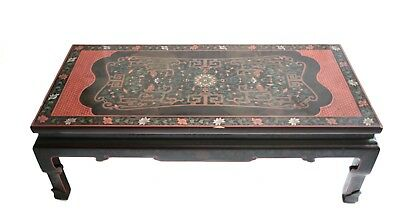 Chinese Black lacquer low / coffee or low table, beautifully painted designs