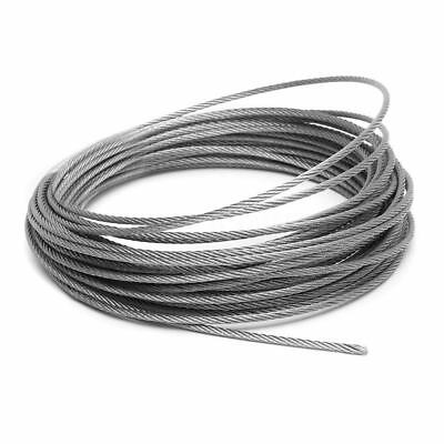 "Aircraft Steel Cable Wire Rope 50' 1/16"" 3/32"" 1/8"" 7x7 Galvanized Cable"