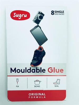 NEW Sugru 8 Single Packs 3x Black 3x White 2x Grey Mouldable Glue Use By 08/2019