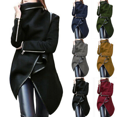 Women Irregular Winter Warm Trench Coat Long Wool Jacket Outwear Parka Cardigan