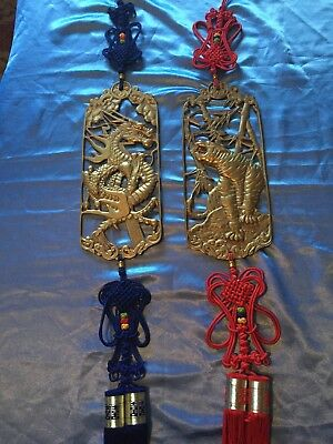 Rare Vintage - (2) Chinese Asian Heavy Brass Metal Tiger & Dragon Wall Plaque