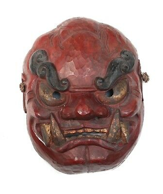 Monumental Japanese Shikami Oni Noh Mask Red black and gold on gesso on wood.