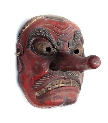 Monumental Japanese Tengu Oni Noh Mask Red black and gold pigments gesso on wood