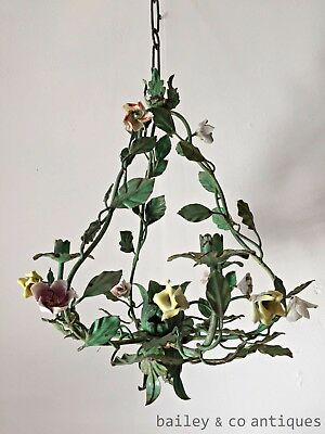 Antique French Chandelier Bird Cage Shape Tole Metal Porcelain Flowers - OF542