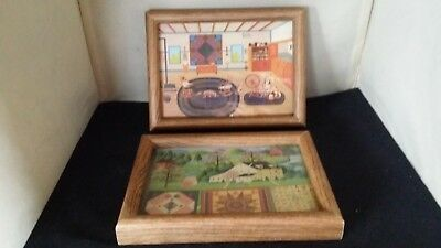 Two Framed Charles Wysocki Shaker Living & Quiltmaker Lady Cards 1980's