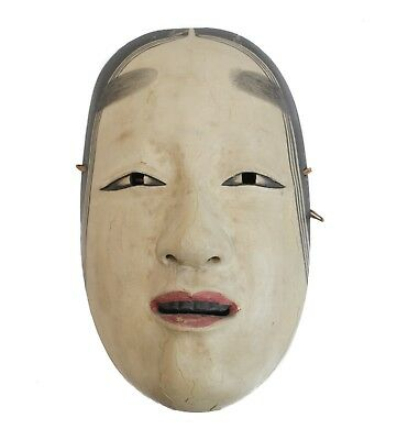 Japanese Zo Onna Noh Female Mask, polychrome pigments on gesso over carved wood.