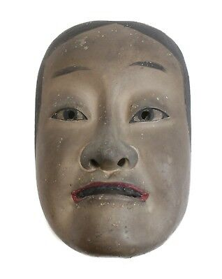 Japanese Otoko Noh Male Mask bronze or gold black and red pigments gesso on wood