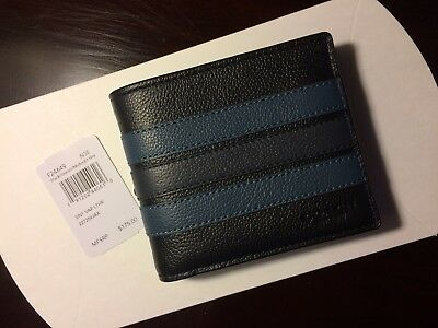 6aed3cc0938b Nwt Coach F24649 Mens 3-In-1 Compact Id Wallet Leather Varsity Stripe Black