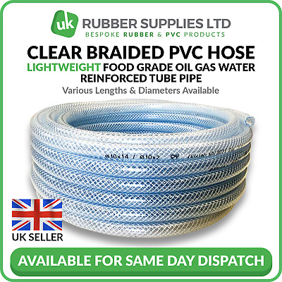 Clear Braided PVC Hose Lightweight Food grade Oil Gas Water Reinforced Tube Pipe