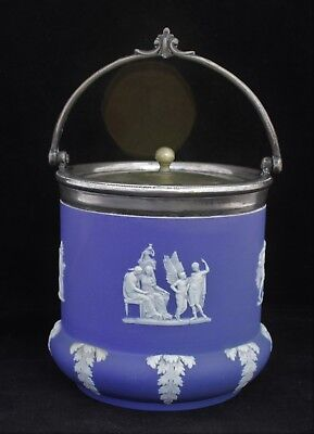 Antique Wedgwood Cobalt Jasperware Biscuit Barrel - Circa 1860