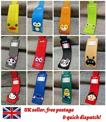 1-6x Cute Animals Kids Luggage Tags Label Lion Owl Duck Frog Holiday Suitcase