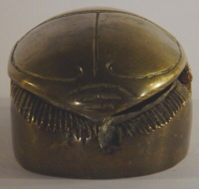 Ancient Egyptian Brass Scarab Beetle Brass Hinged Trinket Box/Paperweight