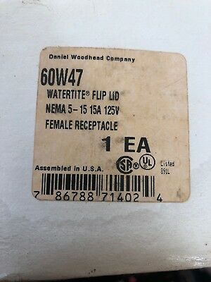 *New* DANIEL WOODHEAD COMPANY 60W47 WATERTITE FLIP LID FEMALE RECEPTACLE.