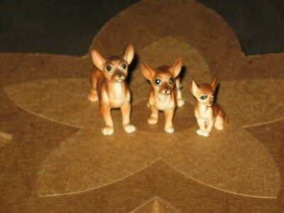 Set of 3 Vintage Miniature Porcelain Ceramic CHIHUAHUA Puppy Dogs Brown